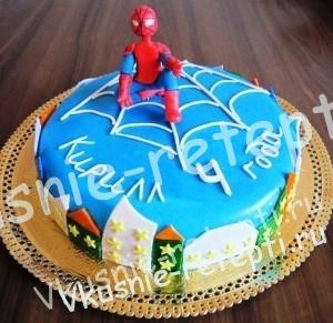 Торт Человек паук , торт из мастики домашнего приготовления, торт  с орехами и черносливом на день рождение для мальчика, фото