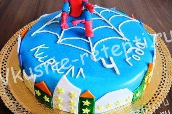 Человек паук — торт с орехами и черносливом на день рождение