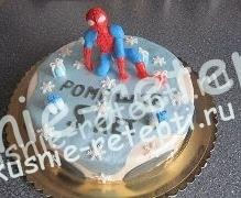 Человек паук - торт с орехами и черносливом на день рождение, фото