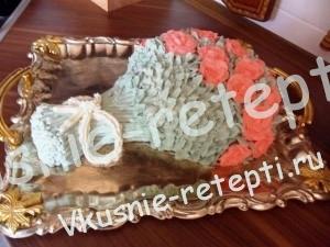 Торт букет с ананасами и киви из бисквитных коржей, фото