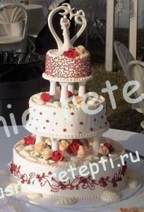 Торт из мастики свадебный на сметане