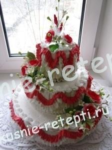 Оригинальный и необычный свадебный торт идеал с медовым кремом