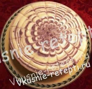 Творожный  торт без выпечки с черникой