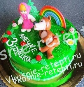 детский торт из мастики  Маша + Медведь, внутри торт киевский, фото