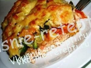 Вкусная запеканка с курицей и овощами