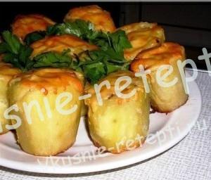 фаршированный картофель, Картофель фаршированный грибами