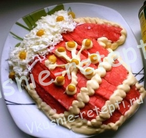 салат рукавица Деда Мороза  новогодний рецепт, фото