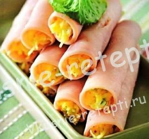 Закуски для фуршета - Рулеты из ветчины с сыром, фото