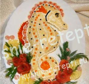 салат с креветками Морской конек