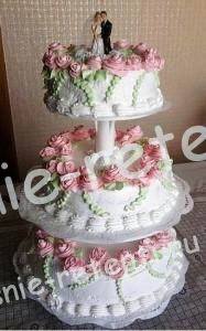 трех ярусный свадебный торт, фото