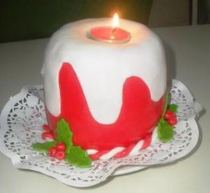 Торт на рождество свеча