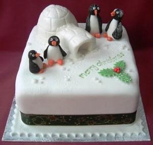 Торт на рождество с пингвинами