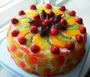фруктовый с желе фото, Фруктовый торт рецепт