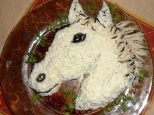 Салат белоснежная лошадь