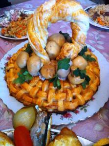 Пирог из слоенного теста фото