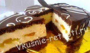 торт Сливочные облака с персиками фото