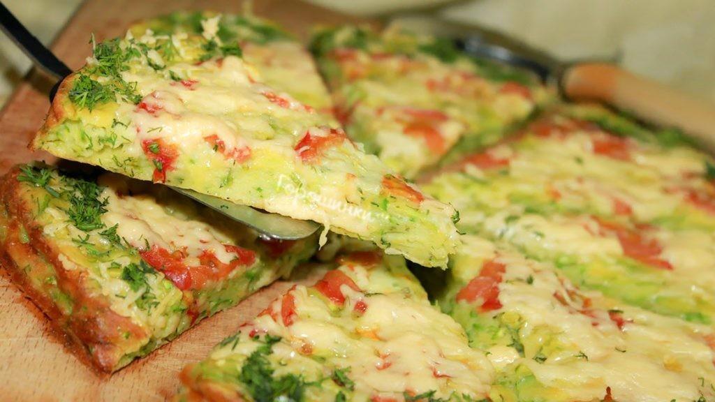 Кабачковая пицца с помидорами и грибами