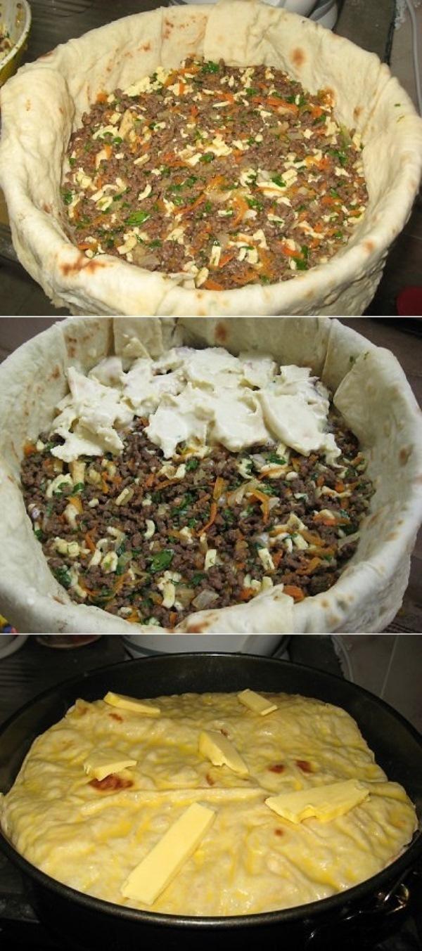 Мясной пирог из тонкого лаваша: пальчики свои оближешь